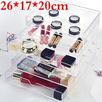 10PCS New Anti Scratch Clear Transparent Acrylic Makeup Box Organizer Cosmetic Display Jewelry Storage Case 5 Drawers Free ship
