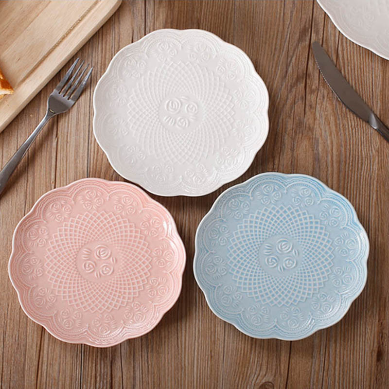 Modern Style Elegant Bone China Dessert \u0026 Fruit Plates Set (3 pcs) with Engaving & Modern Style Elegant Bone China Dinner Plates Set (3 pcs) with ...