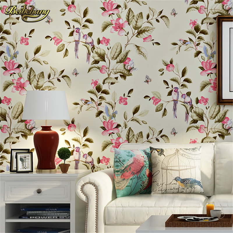 beibehang Retro American Village Non wovens Continental Pastoral Big Flower Bedroom Living Room Sofa TV Background Wallpaper beibehang american pastoral three dimensional small tree non woven wallpaper living room tv sofa background bedroom bedside