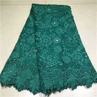 Beautifical guipure lace fabric 2019 african cord lace fabrics green wedding cord lace 5yards high quality