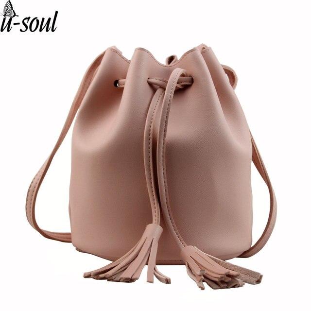 e02500186 Saco mulheres pequeno novo balde bolsa de ombro doce cor de couro mini  bolsas borla sacos