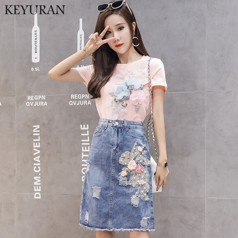 Summer Set Bead Embroidery Flower Short Sleeve Cotton T-Shirt Jeans Skirt Two Piece Set Female Tee Tops Denim Skirt Suit Outfits