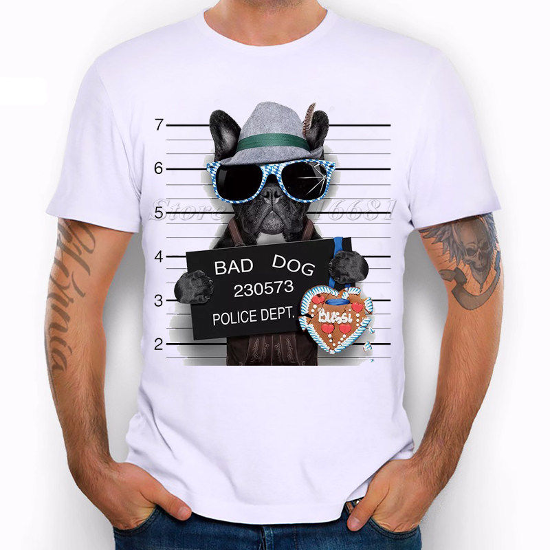 Wanted Bad Dogs Mugshot - Mr French Bulldog German Funny Joke Men T Shirt Tee