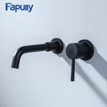 Fapully Black Brass Wall Mounted Basin Faucet Single Handle Sink Faucet Flexible Spout Hot Cold Bathroom Water Mixer Tap 603-88B black matte simple style concealed wall mounted basin faucet double handle mixer tap hot and cold water rotation bathtub spout