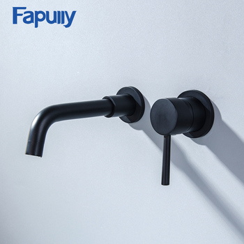Fapully Black Brass Wall Mounted Basin Faucet Single Handle Sink Flexible Spout Hot Cold Bathroom Water Mixer Tap 603-88B