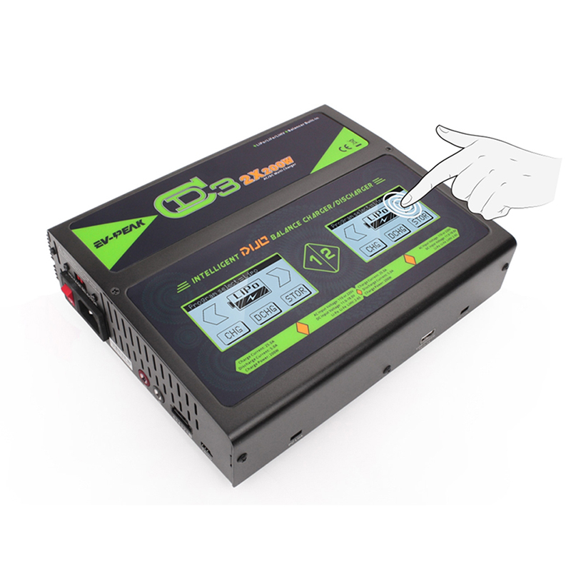 EV-PEAK CD3 200W IMAX B6 RC Balance Lipo Battery Charger Nimh Nicd lithium Battery Balance Charger Discharger with Touch Screen 1s 2s 3s 4s 5s 6s 7s 8s lipo battery balance connector for rc model battery esc