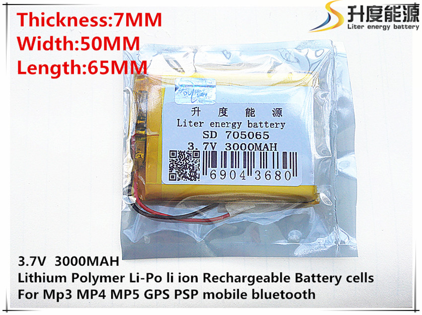 Digital Batteries Li-ion Battery For Toy,power Bank,gps,mp3,mp4,cell Phone,speaker Sunny 5pcs 3.7v,3000mah,705065 Polymer Lithium Ion