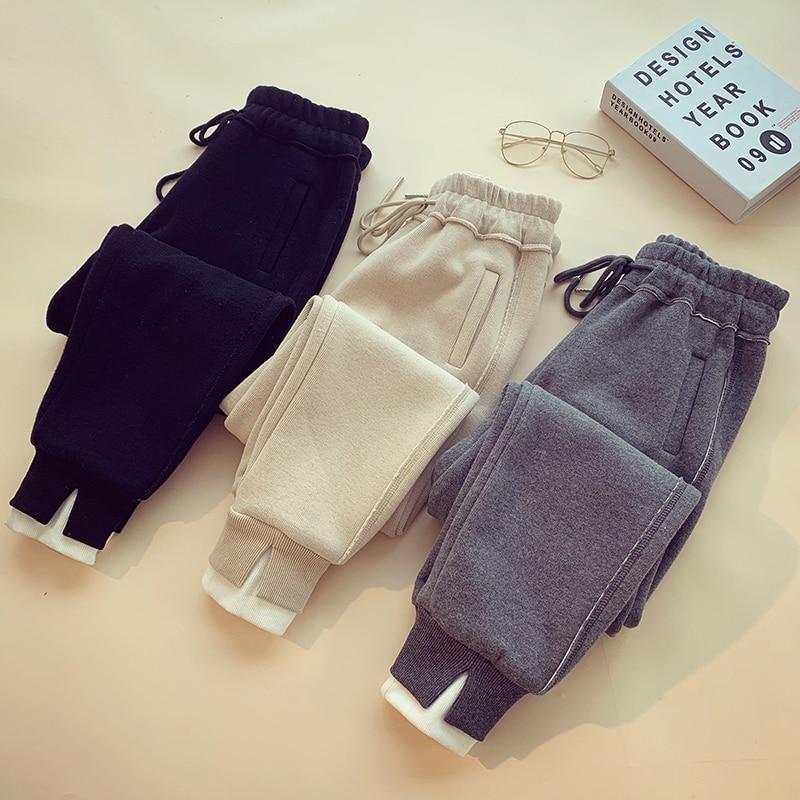 Black gray beige Casual Moda Mujeres Ropa Pantalones Otoño Espesar Suelto Corriendo Nuevo De 2019 Cálido OqU7W