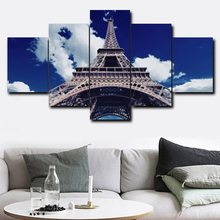 Modern Paris Tower 5 Panel Abstract Wall Art Vintage Canvas Oil Painting for Living Room Wedding Decoration Home Decor No Frame