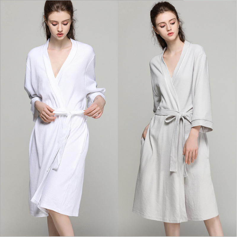 2019 Spring Plus size Gown Dress Women 100% Cotton Robes Ladies Long Sleeve V-neck collar Robe with belt Female Simple Bathrobe