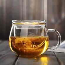 Ручная выдувная термостойкая стеклянная чайная чашка с крышкой и заваркой 300 мл чашка из боросиликатного стекла инновационная бутылка для чая с фильтром