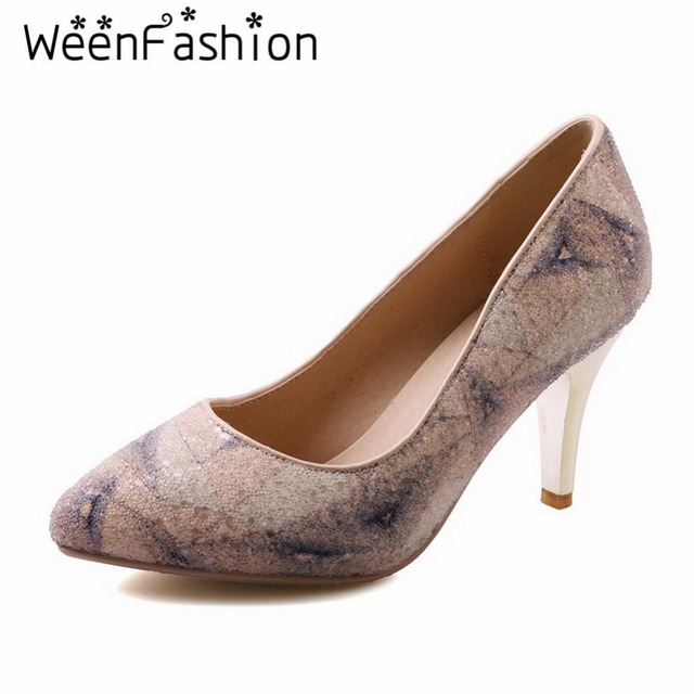 WeenFashion Women Rainbow Colors Pumps Lady Fashion Pointed Toe High Heel Shoes Womens Party Shallow Mouth Thin Heel Dress Shoes