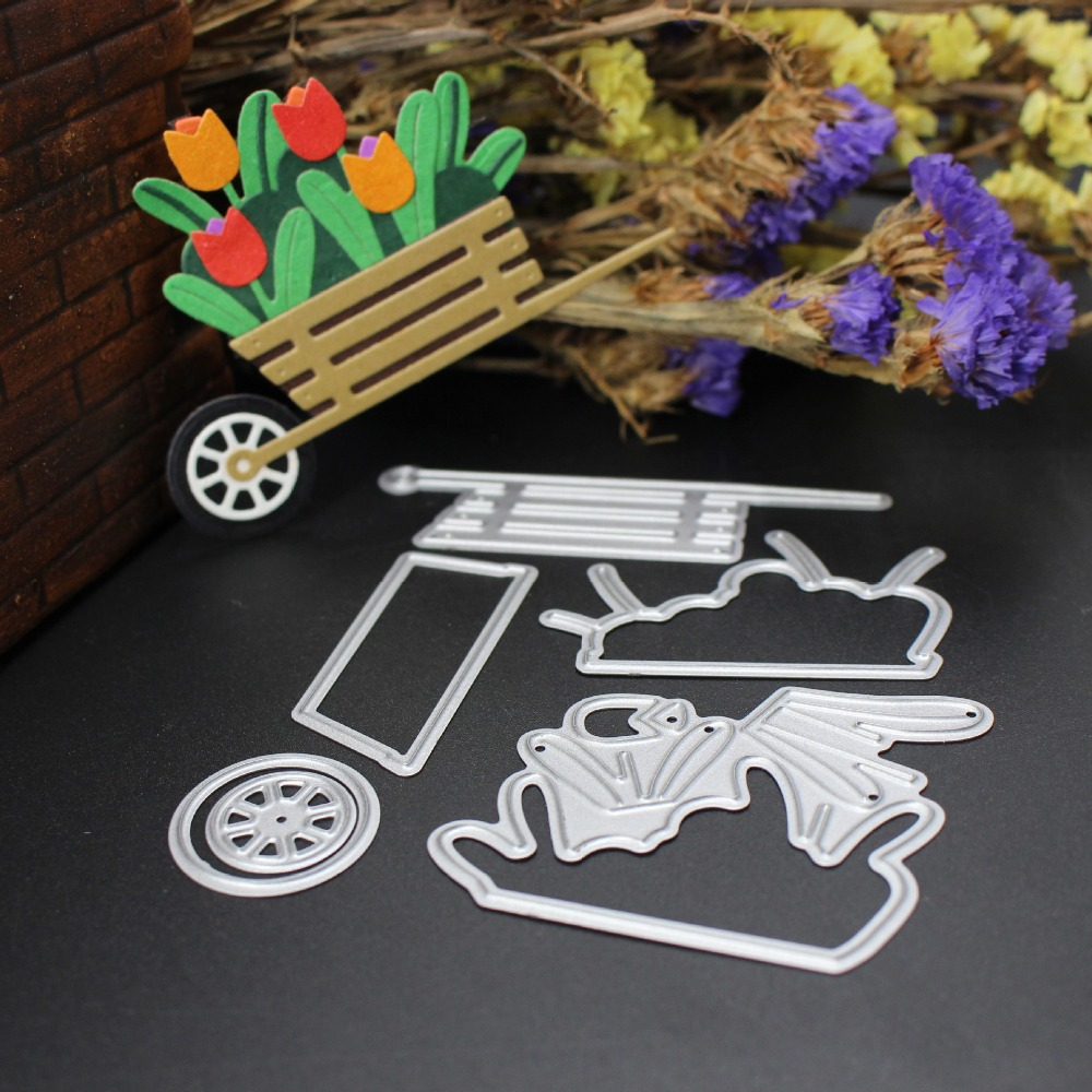 Garden Cart Metal Cutting Dies For DIY Scrapbooking Photo Album Decorative Cards Children Puzzle Paper Crafts Making Tool Mold