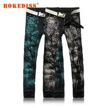Men trousers personality printing Large size jeans Slim Nightclub Men s clothing Flower pants Flanging Fold