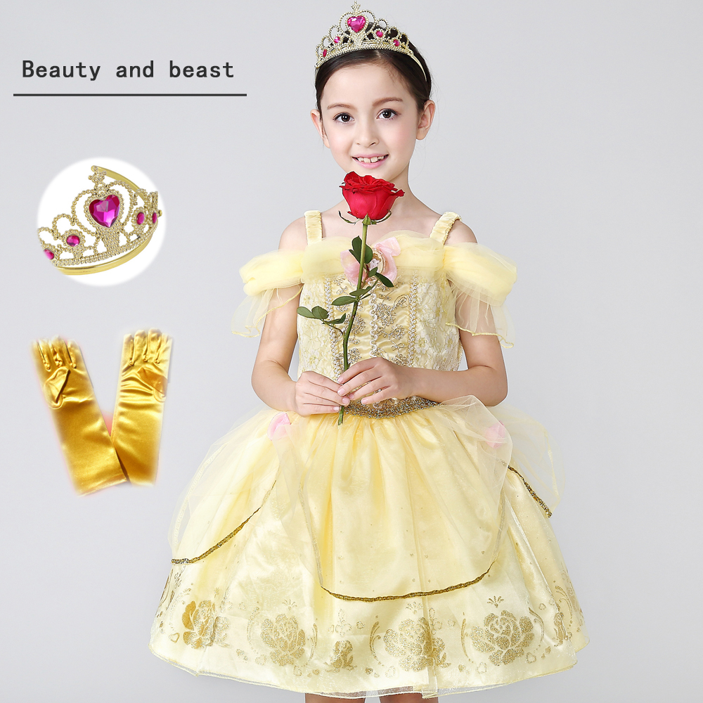 Top Quality 2018 New Arrival Moive Beauty And The Beast Belle Princess Yellow Girl Kids Dress Cosplay Party Clothing Children аксессуары для косплея random beauty cosplay
