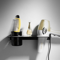 Black Free Punch Hair Dryer Holder with Cup Wall mounted Storage Shelf Bathroom Accessories Set Bathroom Shelf Organizer