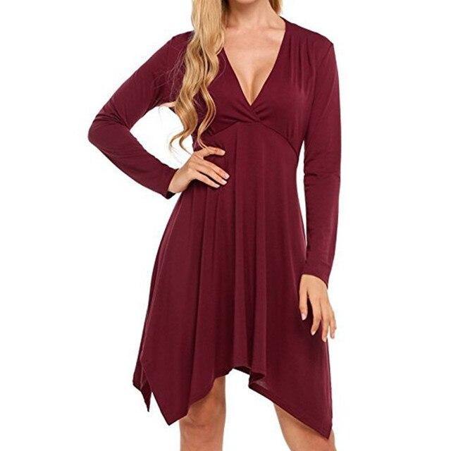 878de3586bd Hot Sale Maternity Dresses Irregular Long Sleeve Dress Clothing For Pregnant  Women V-neck Pregnancy Clothes B0303