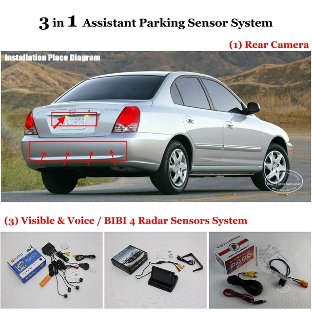 "Rear View Camera + Car Parking Sensors + 4.3"" LCD Screen = 3 in 1 Visual Alarm Parking System For Hyundai Elantra XD HD MD UD"