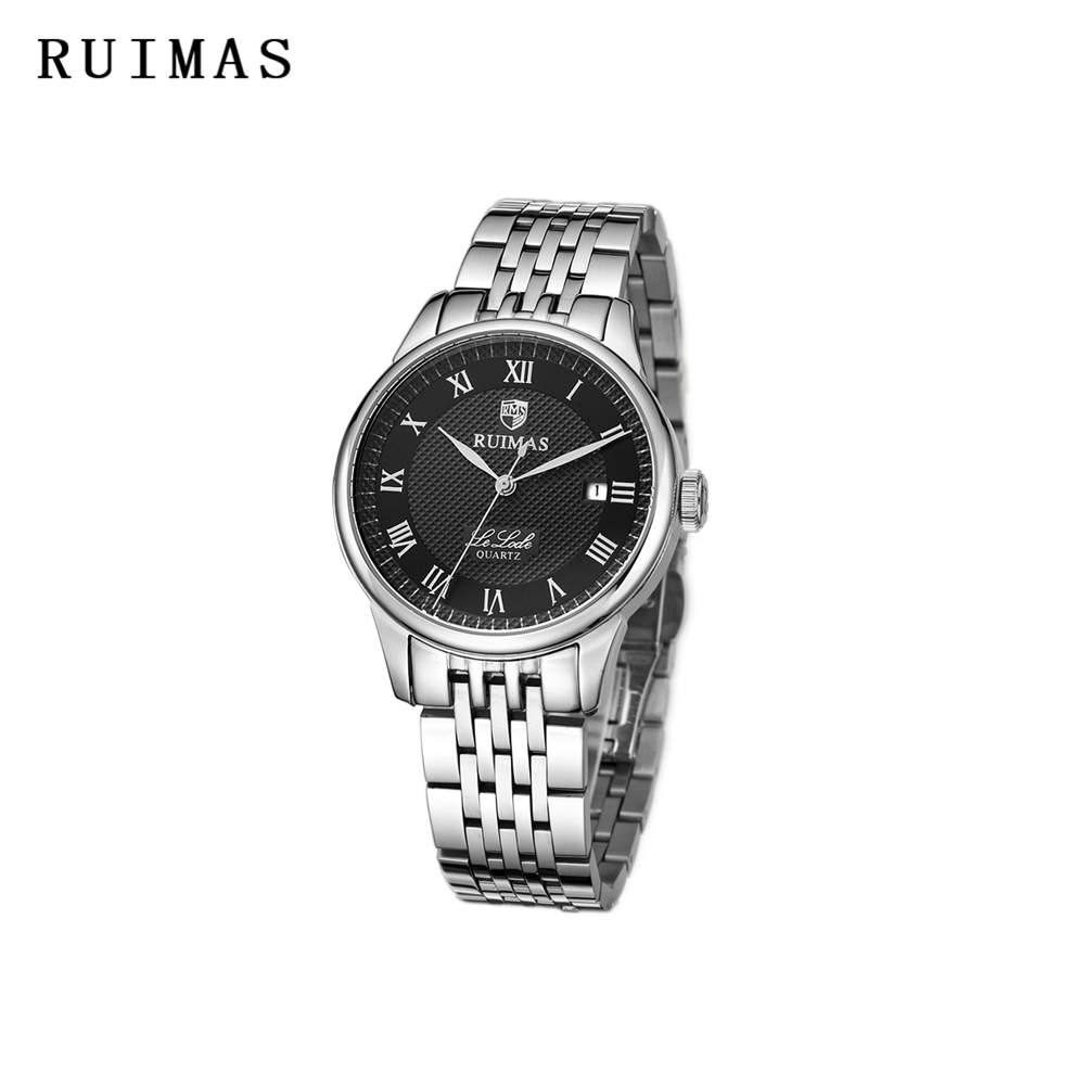RUIMAS Men Wristwatches Quartz Watch Unique Top Brand Dress Business Wrist Watch Mens Black Watches Erkek Kol Saati apr1305 yazole new mens watches gold skeleton men quartz watch luminous wristwatches male clock wrist watch quartz watch erkek kol saati