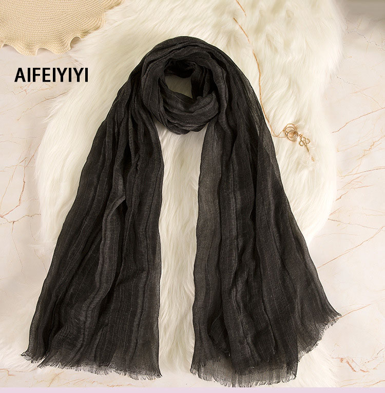 2018 Women's Cotton Scarf Linen Crinkle Scarf Hollowed Shawl