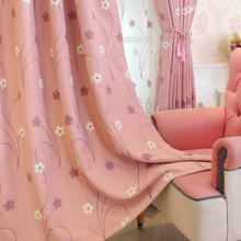 Korean Rural Shading Sweet Pink Embroidery Curtains for Living Dining Room Bedroom