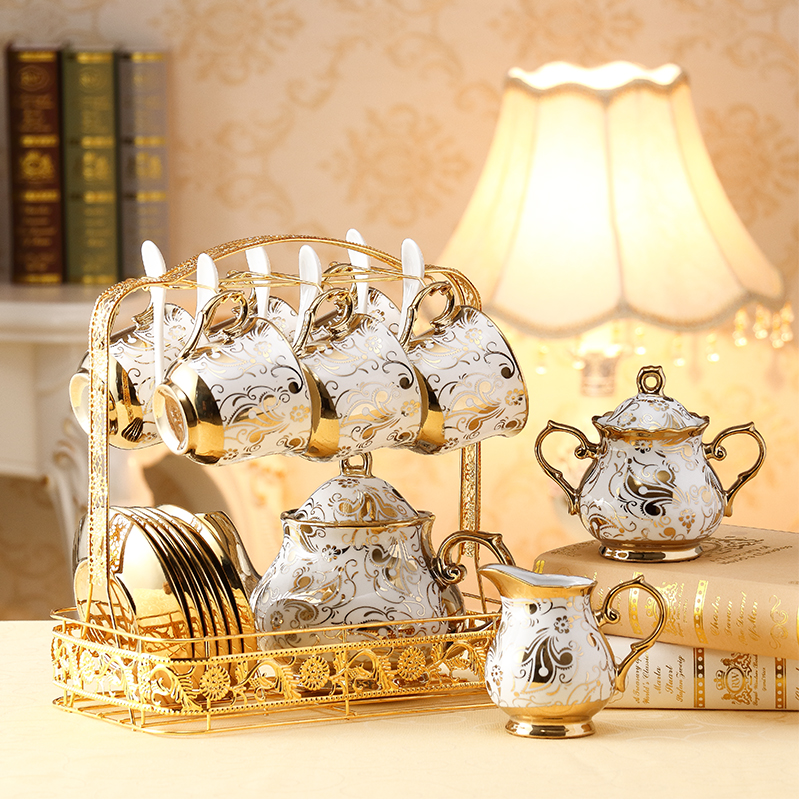 European Ceramic Tea Cup And Saucer Set Chinese Ivory Gold Bone China Coffee Cups Set Pot Creamer Sugar Bowl Teatime Teapot Mug
