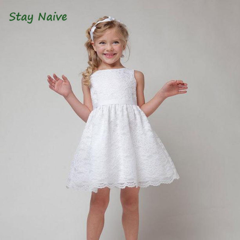 2017 Baby Girl Floral Lace Princess  Dress Wedding Christening Gown Dress Girls Clothes For Kids Party Wear princess girl party dress children wedding birthday tutu dress infant lace corchet christening gown baby girls dresses clothes