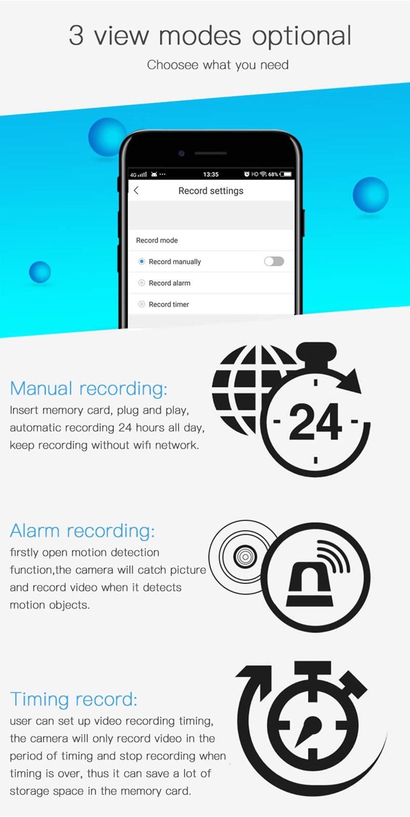 Ev Güvenlik için 3 görüntüleme özelliği, manuel kayıt, alarm kayıt, zamanlanmış kayıt.