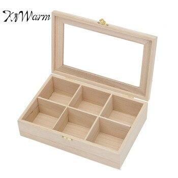 KiWarm 6 Slot Ätherisches Öl Flasche Teebeutel Holzkiste Holz Fach-aufbewahrungs Zinn-kasten-speicher-organisator Home Ornament Container