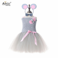 Mouse Tutu Dress Gray Pink Knee Length Birthday Party Cartoon Tutu Dresses Purim Day Pet Costume For Kids Halloween Christmas