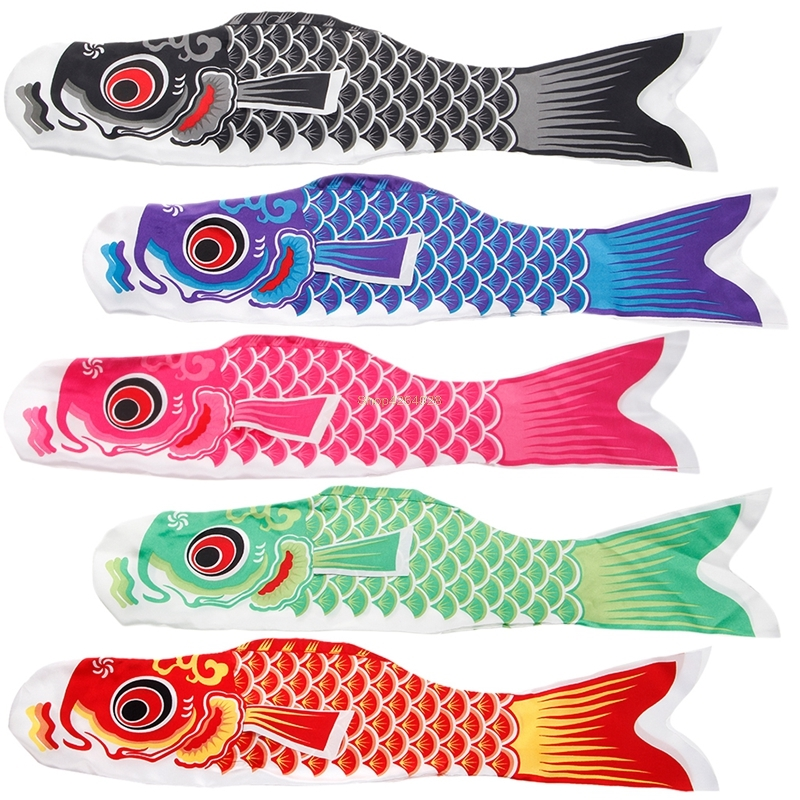 2018 55cm Koi Nobori Carp Wind Socks Koinobori Colorful Fish Flag Hanging Wall Decor JUL26_17