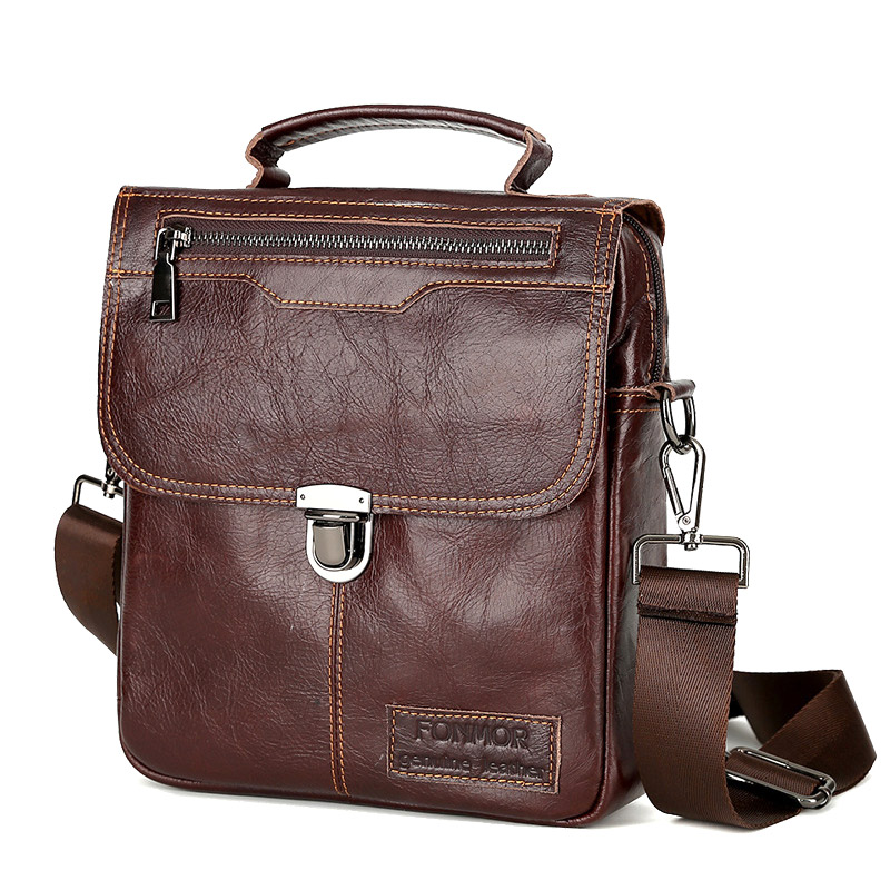 New Style Men Genuine Leather Vintage Buckle Shoulder Bag Satchel Crossbody Bag