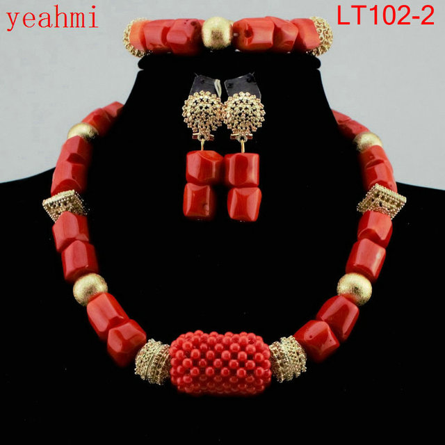 2019 New Genuine Coral Beads Necklace Jewelry Nigerian Wedding African Coral Beads Jewelry Set White Coral Beads Designs LT102-1