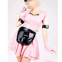 2018 New Sexy princess women girl sweet cute pink latex female Clubwear Promotion Costume short sleeves Dress Fetish Lingerie
