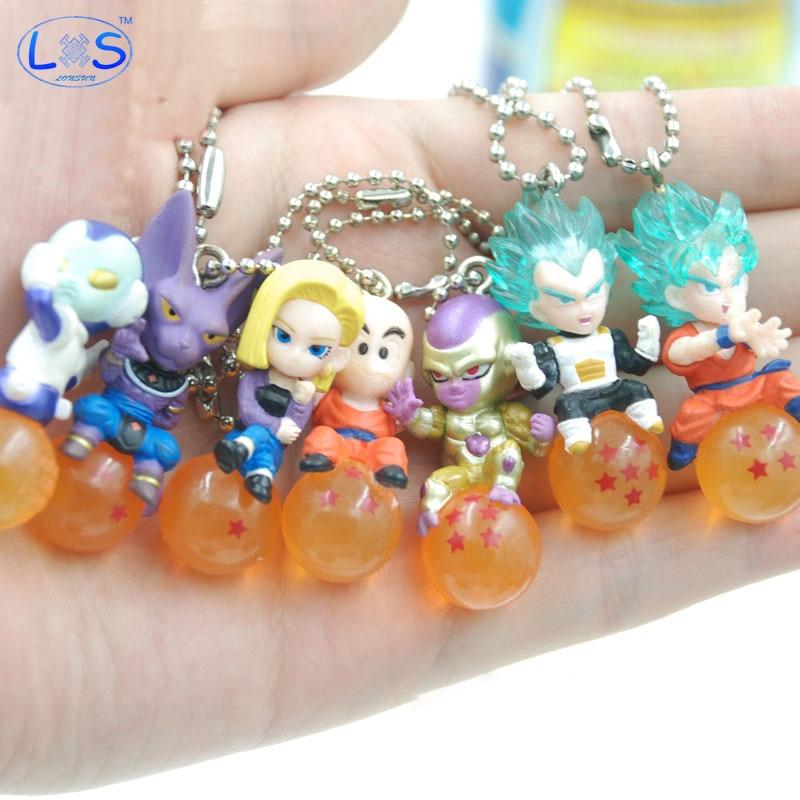 (LONSUN)Dragon Ball Z Balls 4cm Vegeta Frieza Jaco Krillin PVC Figures Toys Pendant Crystal Ball Cartoon Collection Toy