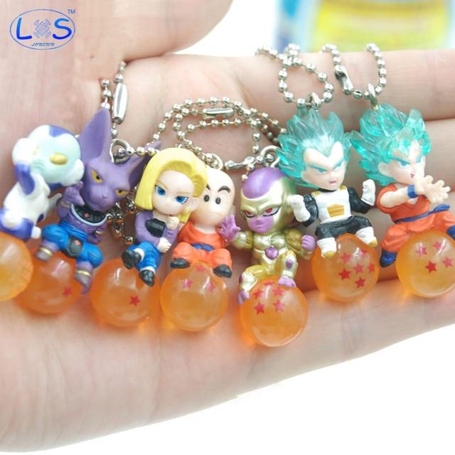 (LONSUN) bolas De Dragon Ball Z Vegeta Frieza 4 cm Jaco Krillin PVC Figuras Brinquedos Pingente Bola de Cristal Dos Desenhos Animados Coleção Toy