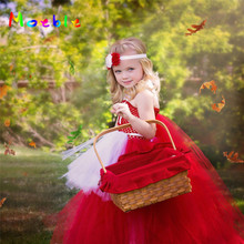 Flower Girl Dress Girls Ankle Length Red Color Ball Gown Kids Photography Pageant Wedding Birthday Party Dresses цена в Москве и Питере