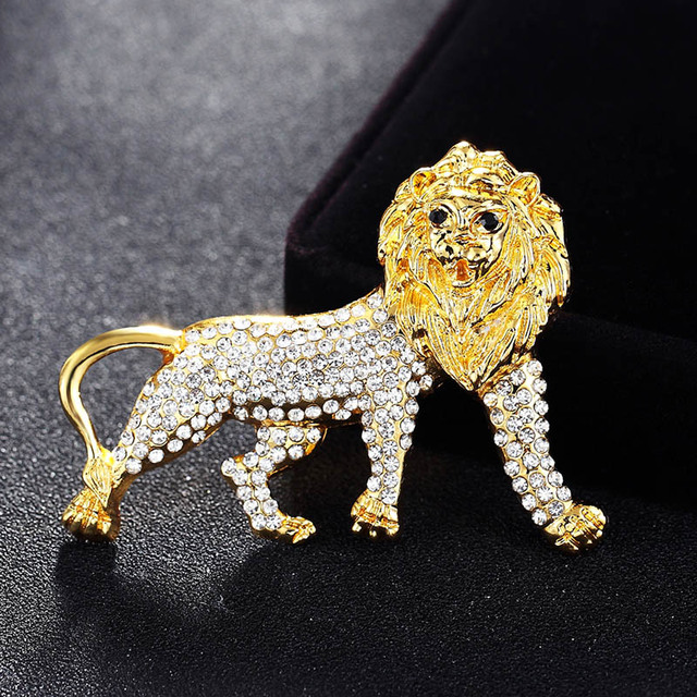 Perfect Women Statement Rhinestone Animal Brooches Jewelry Cute Lion Men s Vintage  Pin Brooch Collar Suit Scarf Decoration Joias f25512ba6351