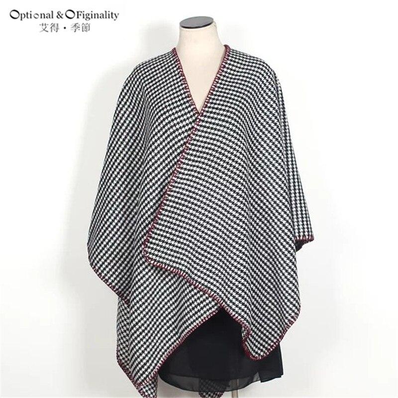 Women\'s Houndstooth Shawl Coat Blanket Oversized Poncho knitting ...