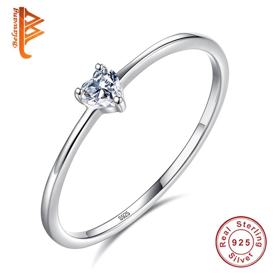 BELAWANG Authentique 100% 925 Sterling Argent Doigt Anneau Cubique Zircon Anneaux De Mariage De Coeur pour les Femmes De Luxe Bijoux En Argent Cadeau