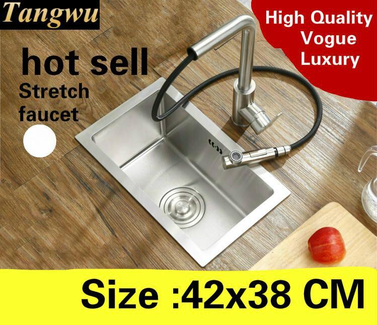 Livraison gratuite appartement balcon cuisine manuel évier simple auge mini robinet extensible 304 acier inoxydable vente chaude 420x380 MM