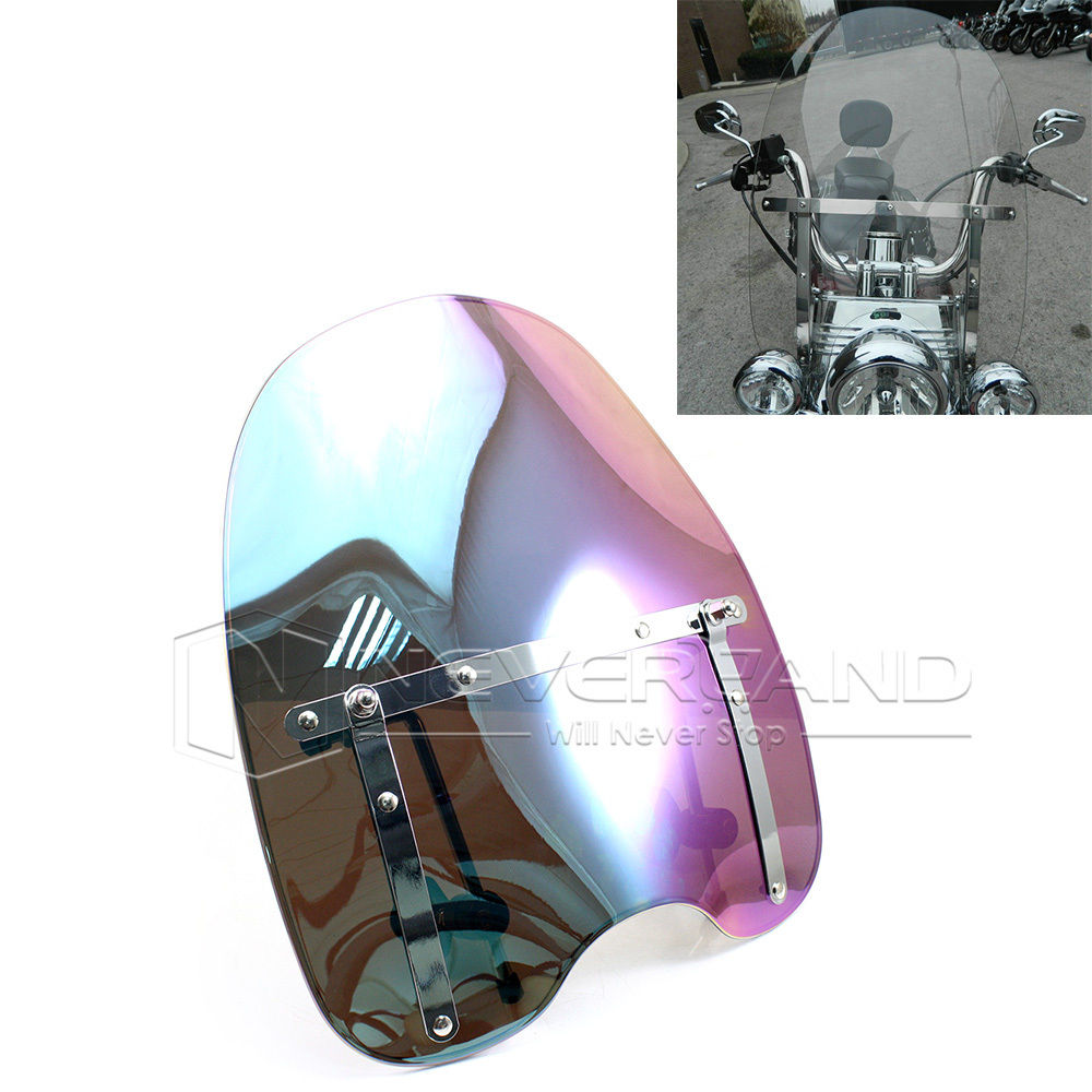 Motorcycle Windshield Windscreen for Harley Sportster Dyna Glide Softail Road King 1970-2015 Smoke Clear Iridium Chrome D10