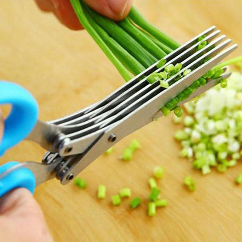 Nouveau En Acier Inoxydable 5 Lame Herbes Ciseaux Cleaner Inoxydable Lames Cuisine Tool Accueil fruits légumes Cutter Cuisine Gadgets