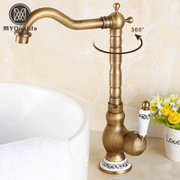 360 Rotation Brass Kitchen Sink Faucet Deck Mount One Handle Crane Kitchen Mixer Taps Antique Brass