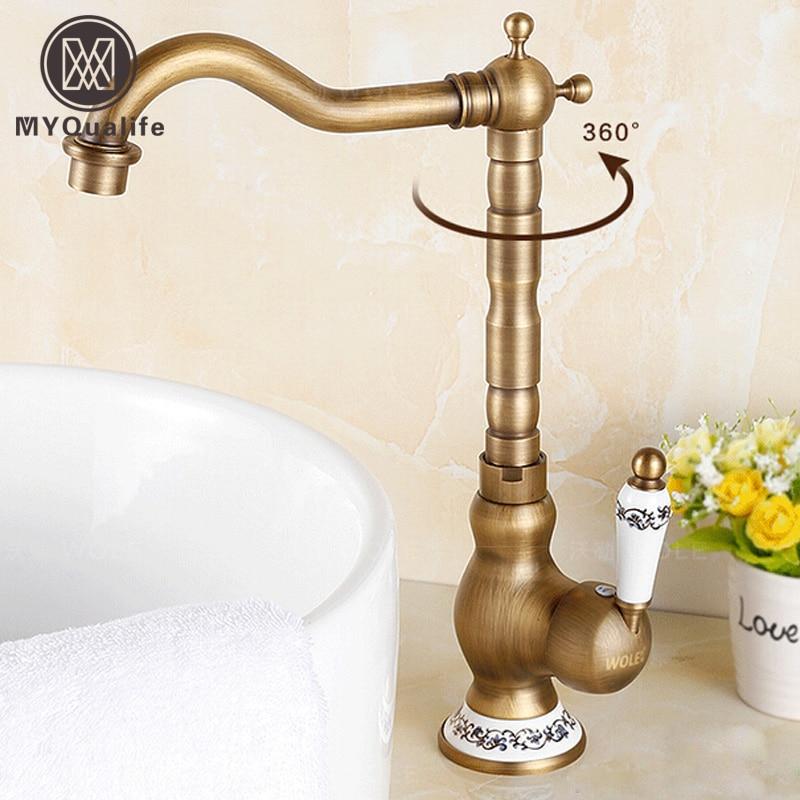 360 Rotation Brass Kitchen Sink Faucet Deck Mount One