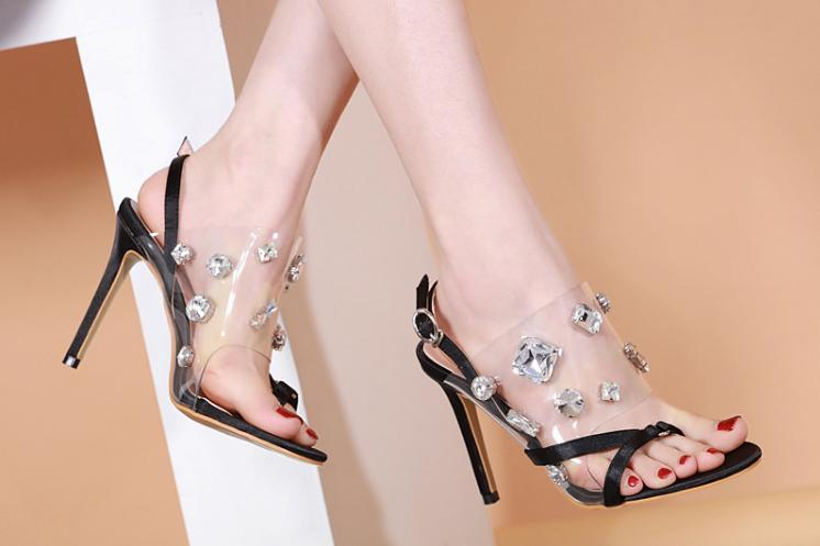 2019 summer new European and American fine with women's shoes transparent PVC beaded glass rhinestone high heel sandals
