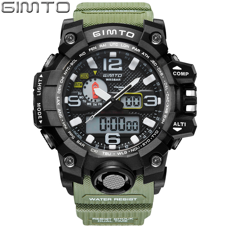 GIMTO Brand LED Sport Watch Men Waterproof Stopwatch Black Mens Military Clock Shock Diving Digital Watches Relogio Masculino weide popular brand new fashion digital led watch men waterproof sport watches man white dial stainless steel relogio masculino