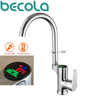 becola LED kitchen LCD temperature and digital display kitchen faucets solid brass chrome kitchen tap Water Power Mixer faucet