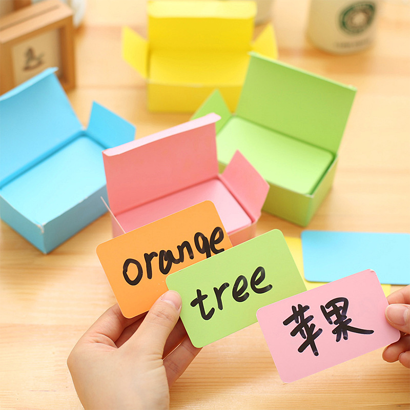 100pcs/box small mini white colorful kraft paper card office business message note memo pad supplies stationery  wholesale