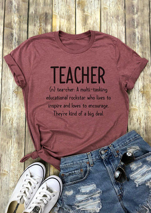 Zuversichtlich Frauen T-shirt Lehrer Brief Drucken T Shirt Oansatz Kurzarm T-shirt 2018 Weibliche Casual Cameo Braun Tops T Damen T Hemd Gepäck & Taschen